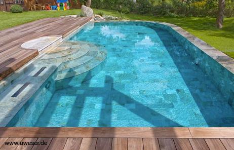 Pool stufen betonieren gel nder f r au en for Gewebefolie pool